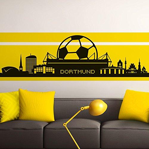 ttoo Skyline Dortmund I schwarz 165 x 47 cm I Stadt Fußball Fan Verein Wohnzimmer Aufkleber Wandaufkleber Schlafzimmer (Stadt Fußball)