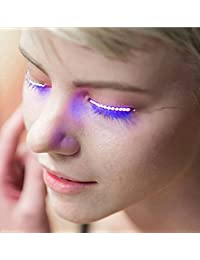 JYSPORT - Extensiones de clip de pelo de fibra óptica con luz LED multicolor, LED Eyelashes Random color