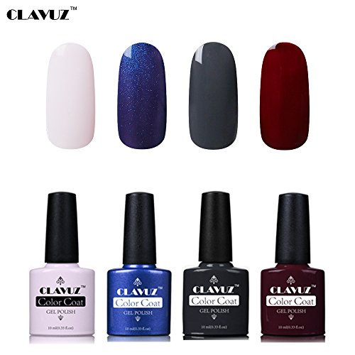 Set de Vernis à Ongles Semi-Permanent UV LED Soakoff 4pcs Kit Manucure 10ml de Clavuz-KIT 009