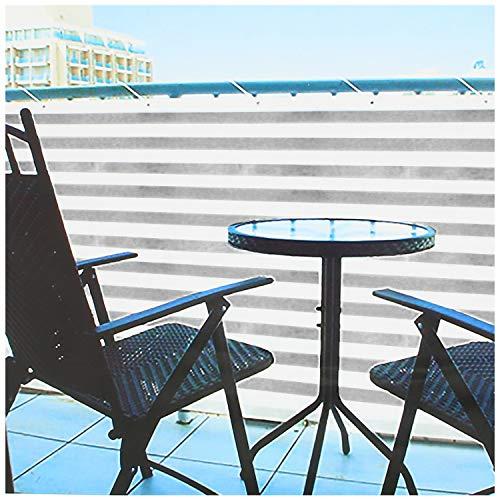 com-four® Blickdichter Balkon-Sichtschutz - Balkonumspannung mit Kordel zur Befestigung - auch als Windschutz und Sonnenschutz geeignet (1 Stück - 600 x 75cm - grau/weiß)