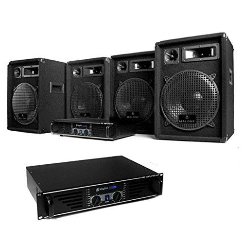DJ Nizza Nights Pro PA Komplettset PA Lautsprecher Boxen Verstärker Set (2x PA Endstufe, 4x 400W Boxen)