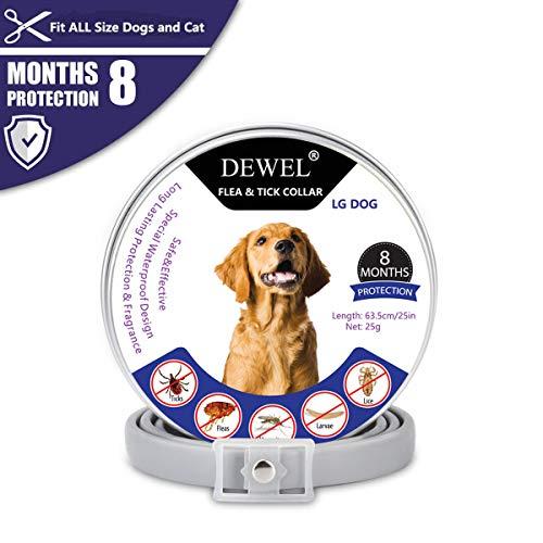 DEWEL Collar Antiparasitario,Collar Antiparasitario Perros Impermeable Tamaño Ajustable de 63cm para Contrar...