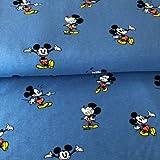 Hemmers Jersey Stoff–Mickey Mouse blau–Jersey Stoff–hem47–0,5m–96% Premium Baumwolle 4% Spandex Stretch Jersey Knit Stoff
