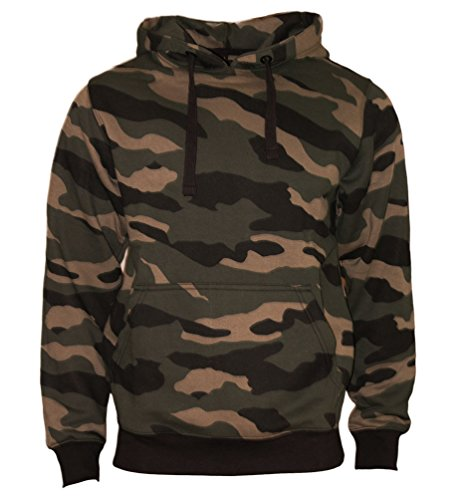 Kapuzenpullover Hoodie Workerhoodie kapuzen Sweatshirt - Herren - 380g hochwertig und sehr soft - Original von ROCK-IT - camouflage Grün/Braun Large