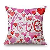 Xmiral Kissenbezug Happy Valentine's Day Kissenbezug Sweet Liebe Quadrat Zierkissenbezüge(B)