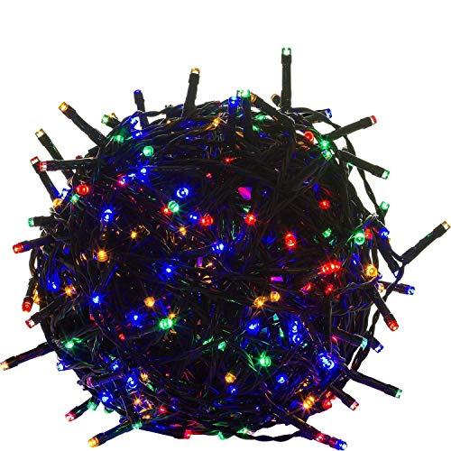 FROADP Wasserdichte Weihnachtsdekoration String Lichte 8 Modi Vorhang Lichter Beleuchtung Deko Weihnachten Halloween Hochzeit Party oder Stimmung Lichter (Bunt, 100m)