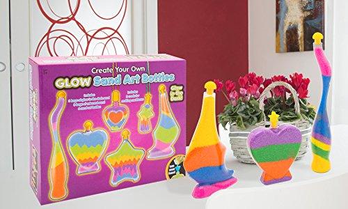 Glow Bottle Sand Art Set Childrens Sand Art Glow In The Dark Bottle Sand Kit New by KandyToys