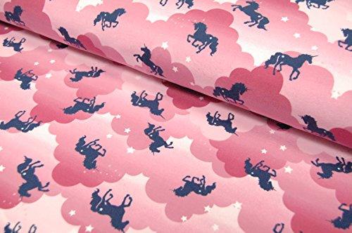 Coton-Jersey-Licornes-nuages-Rose