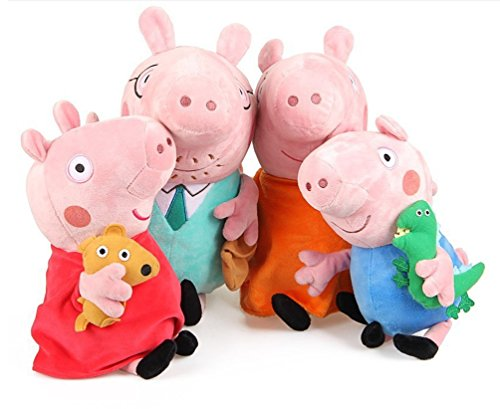 Peppa Pig Set of Four Cute Plush Family Members - Daddy Pig and Mummy Pig are 28cm Tall - Peppa Pig And George Pig are 17cm Tall - Super Soft and Cuddly with Computerised Embroidery Details To The Face Making Them Just Like The Cartoon Characters.