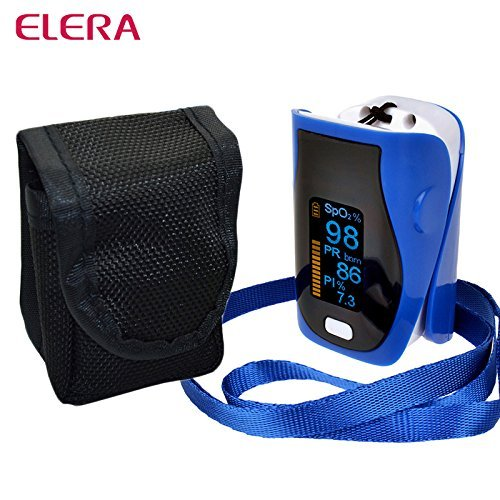 Generic black : ELERA New Portable Finger Pulse Oximeter Oximetro de dedo digital WITH CASE SPO2 PR PI Pulsioximetro Health Care