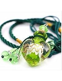 QIYUEQI Ms Collar Collar de vidrio de la botella de aceite esencial que deseen En Heart