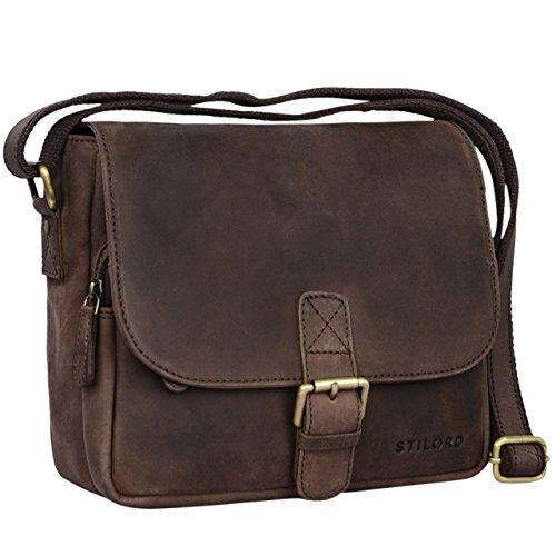 STILORD 'Lucian' Vintage Umhängetasche Leder klein für Herren und Damen braune Schultertasche für 10.1 Zoll Tablet iPad DIN A5 Handtasche aus echtem Leder, Farbe:matt - dunkelbraun (Handtasche Braune Leder Echte)