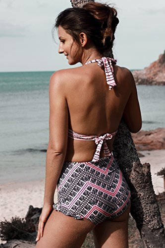 Angerella Damen Retro Stil Bademode Polka-Punkt mit hoher Taille Bikini Set Badeanzug Mehrfarbig