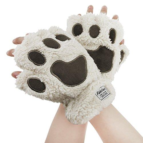 AfinderDE Halbhandschuhe Fingerlos Handschuhe Damen Mädchen Plüsch Halb Handschuhe dicken warmen Fingerhandschue Cartoon Tier Bär Katze Krallen Winterhandschuhe (Katze Krallen Kostüm)