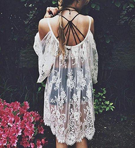 Femmes Floral brodé Robe,Tonwalk Femmes Dentelle Crochet Mini robe Hippie Boho Blanc