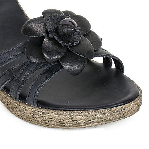 MARINA SEVAL by Scarpe&Scarpe - Semelles compensées avec fleur, en Cuir Noir