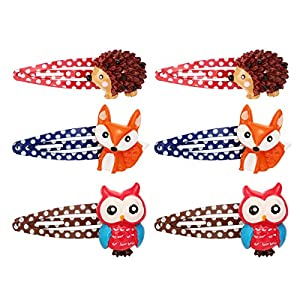 Frcolor 6 Stück Haarspangen Haarclips Karikatur Tier Kinder Mädchen