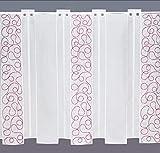 modern bestickte Scheibengardine 60 x 110 cm Farbe weiß / rot