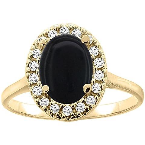 Oro 14 CT, colore: nero Onyx Halo anello, 9 x 7 mm, forma ovale, accento diamante, taglie J-T