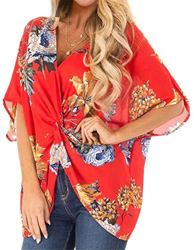 Boden Ärmel Tiefer V-Ausschnitt Flügelhülse Dolman Ärmel Kimono Ärmel Verdreht Twist Geblümt T-Shirt Bluse Hemd Oberteil Top Orange M -