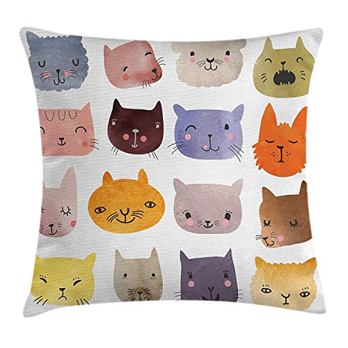 Shower Curtain Cat Throw Pillow Cushion Cover, Cute Watercolor Effect Cat Heads in Colorful Humor Fun Purring Meow Animal Kids Artsy Print, Decorative Square Accent Pillow Case, 18 X 18 Inches, Multi -