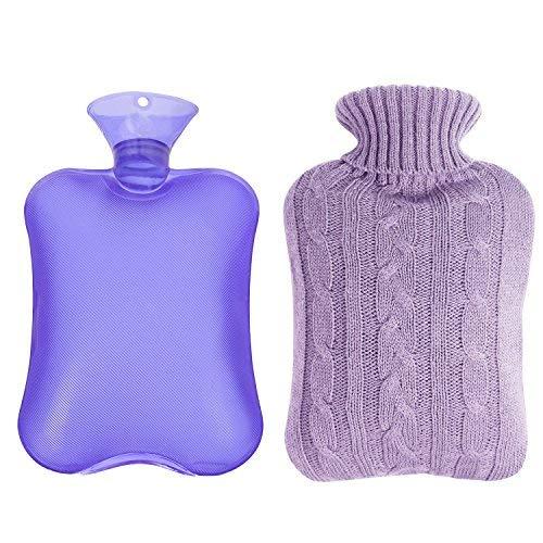 Shiney Wärmflasche Premium Gummi für Krämpfe und Schmerzen Relief mit Knit Schnelle Schmerzlinderung und Komfort Abdeckungen, 2 Liter