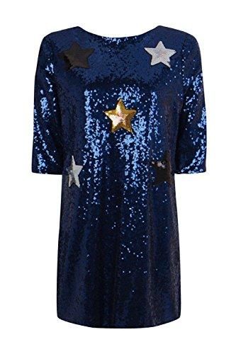 Marine Damen Boutique Yasmin Etuikleid Mit Sternapplikation Aus Pailletten Marine