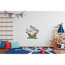 Vinilo decorativo pared Infantil   Barco Pirata   Barco   PIrata   Velero   Varias Medidas 120x120cm   Adhesivo Resistente y de Facil Aplicación   Multicolor   Pegatina Adhesiva Decorativa de Diseño Elegante 