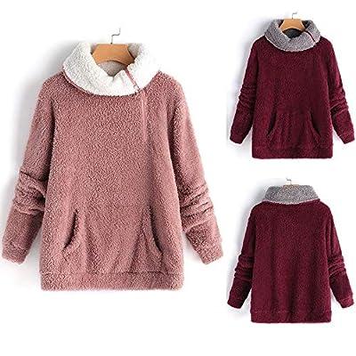 TITAP Womens Ladies Warm Artificial Wool Coat Jacket Winter Parka Outerwear