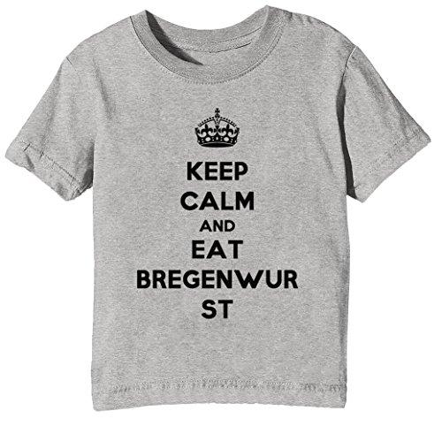 Keep Calm and Eat Bregenwurst Kinder Unisex Jungen Mädchen T-Shirt Rundhals Grau Kurzarm Größe L...
