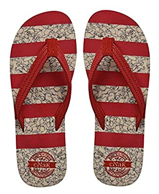eNaR Women's Red Color Thong-Style Slippers/Flip Flops (Size-5)