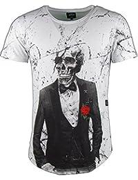 T-Shirt - Totenkopf - Skull - mit gestickter Rose - weiß