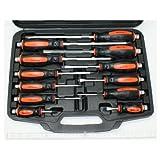 Spar-Set: 12 extra robuste Schraubendreher ( Schraubenzieher ) Kreuz und Schlitz bis 33 cm Gesamtlänge, aus CV-Stahl, im Koffer