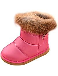 d9c9b83498513 KINDOYO Bébé Filles Bottes de Neige Sole Souple Bottes d hiver Antidérapant  Chaud Chaussures Fourrure