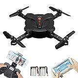 Drone portatile RC con sistema Fpv Wifi Videocamera Hd + Batteria Aggiuntiva – Flessibile, Tascabile, Quadrirotore con Mantenimento dell'altitudine, modalità di volo a lancio, Fly 3D, Flips, Hover, 4 (pocket drone-B)