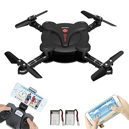 RC Pocket Drone avec Fpv Wifi Hd Camera + Bonus Battery- Flexible Foldable Quadcopter Avec Altitude Hold Throwing Fly 3D Flips Hover 4 Channel 6 Axe Gyro Gravity App Remote Controller Rtf Helicopter (Pocket drone-B)