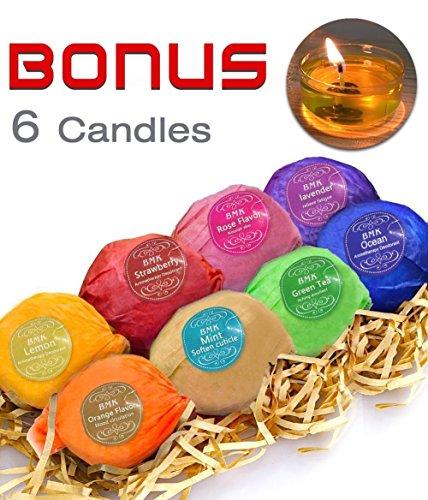 BMK-Bath-Bombs-Gift-Set-8-Bath-Fizzies-6-Candles-Handmade-Natural-Organic-Essential-Oil-Luxury-Spa-Bomb-Bath-Basket-Gift-Ideas-Kit-for-Women-Mom-Girls-Kids