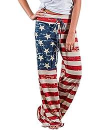 LAEMILIA Pantalons Droit Evasée Femmes Drapeau Américain Cordon Large  Jambes Pantalons Leggings Jogging Sport Sarouel d7c8e6dde05