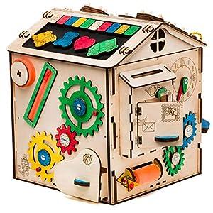 Aktivitätswürfel Holz 16 in 1 Motorikwürfel Montessori Aktivitätsbrett Entwickelndes Spielzeug Beschäftigtes Brett Busyboard für Kinder