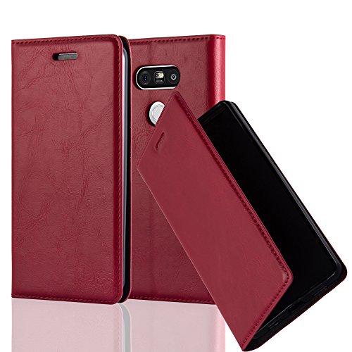 Cadorabo Hülle für LG G5 - Hülle in Apfel ROT - Handyhülle mit Magnetverschluss, Standfunktion & Kartenfach - Case Cover Schutzhülle Etui Tasche Book Klapp Style