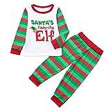 Kleinkind Kinder Baby Mädchen Bekleidungssets Weihnachten Pyjamas Kinder Cartoon Brief Print Top + Streifen Hosen Familie Kleidung 80cm-120cm Felicove