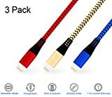Elebar 3 Pack 2M iphone Charging Cable Nylon Braided USB Cable Apple lightning cable for iPhone 7 Plus, iPhone 6 6S Plus 6 Plus SE 5S 5C 5, iPad 2 3 4 Mini,iPad Pro Air,iPod and More.(Red & Gold & Blue)