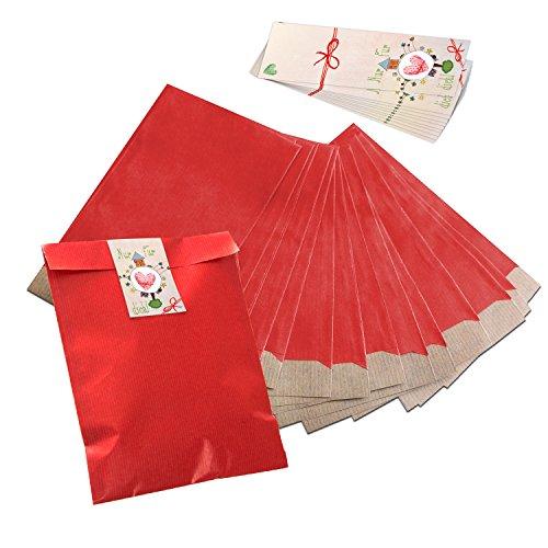 25 kleine rote Papiertüten Flachbeutel 17,5 x 21,5 cm + 25 NUR FÜR DICH rosa rote Banderolen Aufkleber (5 x 15 cm) Geschenktüten Tüten Mitgebsel give-away Verpackung Gastgeschenke