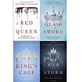 Victoria aveyard red queen series 4 books collection set (red queen, glass sword, king's cage, war storm [hardcover])
