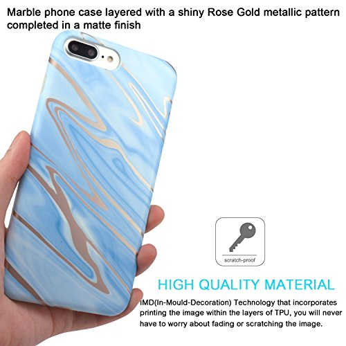 Cover iPhone 8 Plus, JIAXIUFEN TPU Gel Silicone Protettivo Custodia Case Cover Per Apple iPhone 7 Plus / iPhone 8 Plus - Bianco Marmo Design Shiny Rose Gold Blue Waves
