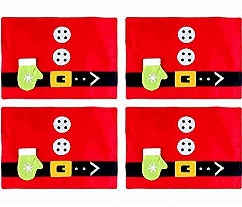 Nhsunray tovagliette di natale,tovaglie da tavola natalizie per famiglie hotel cucina decorazione strumento rosso 45x33cm / 17.7x13 '' (4pcs)