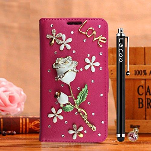 Locaa(TM) Pour Apple IPhone 7 Plus IPhone7+ (5.5 inch) 3D Bling Rose Case Coque Fait Love Cuir Qualité Housse Chocs Étui Couverture Protection Cover Shell Phone Nous [Rose 1] Blanc - Rose Bleu Rose - Rose Blanc
