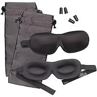 PEARL Schlafbrille: 2er-Set 3D-Schlafmasken mit Ohrstöpseln & Aufbewahrungstasche, schwarz (Augenmaske) preisvergleich bei billige-tabletten.eu