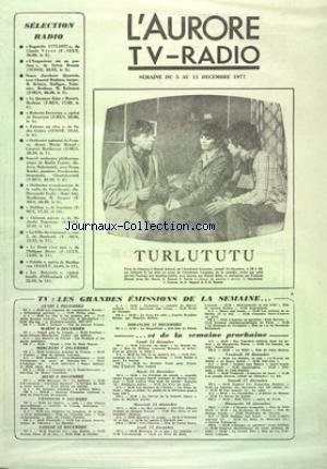 AURORE TV RADIO (L') du 05/12/1977 - SELECTION...