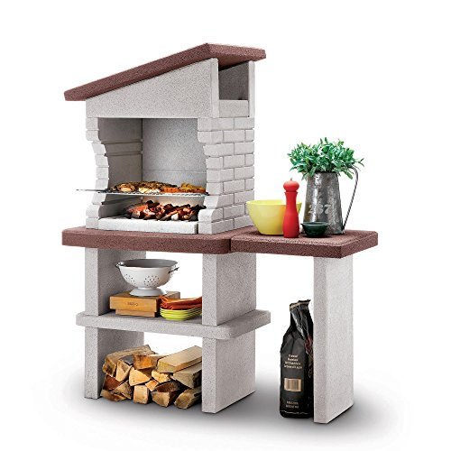 Fire Mountain Roma Masonry Barbecue with Stainless Steel 4 Level Grill, Prep Shelf and Storage Space for Wood or Charcoal